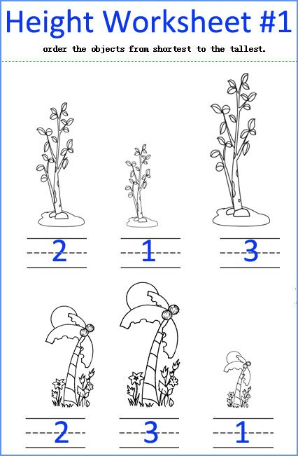 tall and short, height measurement worksheets, free kindergarten ...