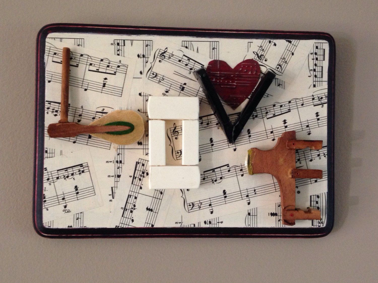 vintage piano keys love collage with sheet music