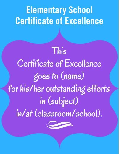 Certificate Wording for Elementary Teachers and Schools Elementary