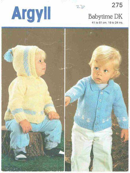 Argyll 275 Baby Hoodie Cardigan Vintage Knitting Pattern Knitting