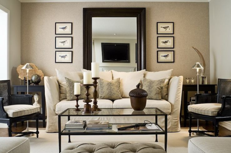 Tan black and white serene living room living room for Decoracion hogar living