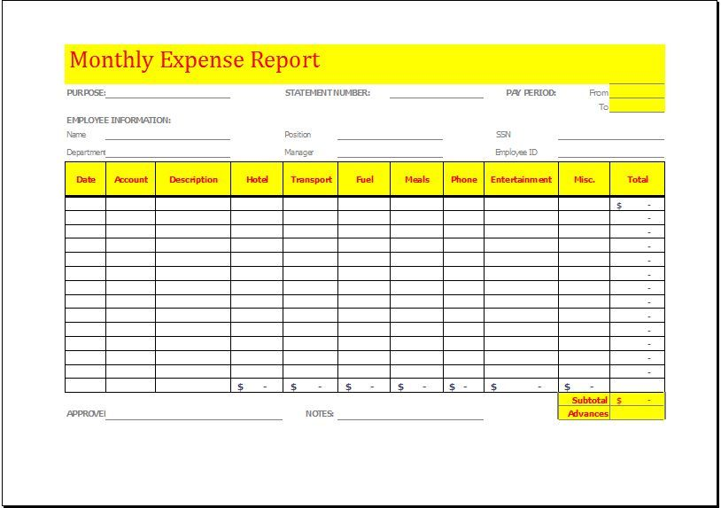 Monthly Expense Report Template DOWNLOAD at   wwwbizworksheets