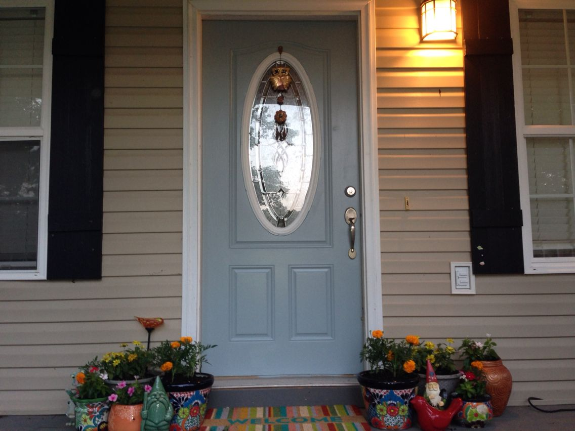 Front Door Paint Is Blue Arrow By Valspar We Re Painting The White Trim This Weekend Painted Front Doors Exterior Paint Colors Front Door