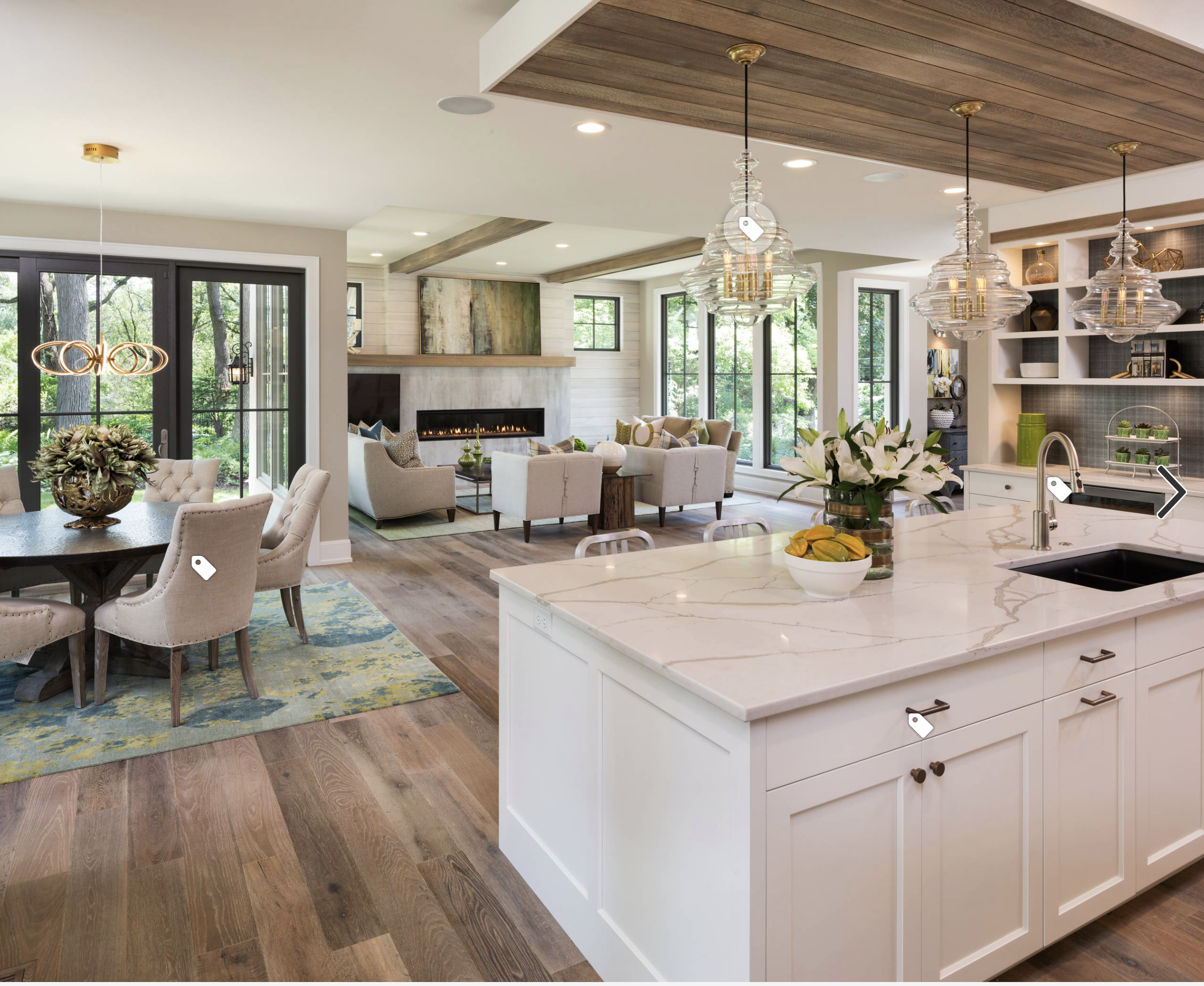 Transitional Kitchen With Open Floor Plan Open Plan Kitchen Living Room Open Concept Kitchen Living Room Kitchen Concepts