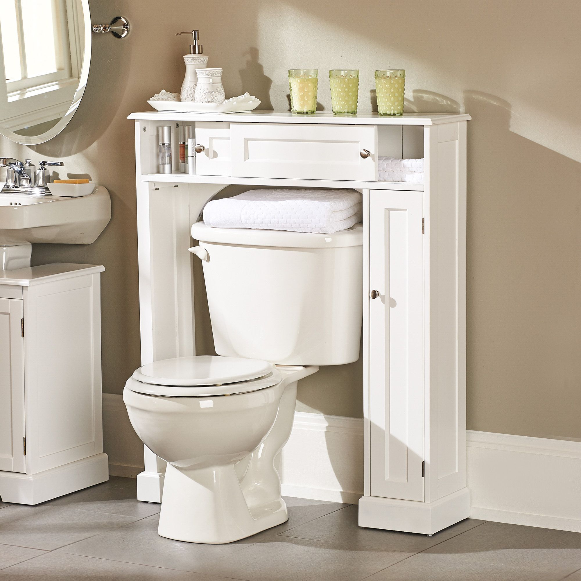 Weatherby bathroom over the toilet storage cabinet - Unique bathroom vanities for small spaces ...