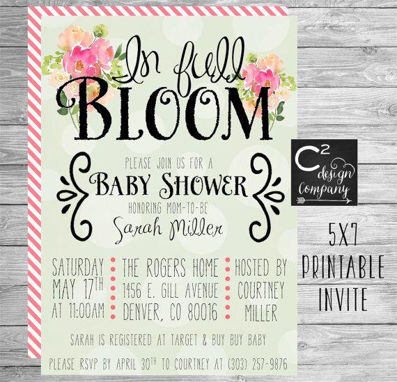 In Full Bloom Baby Shower Invitation By Csquareddesignco On Etsy