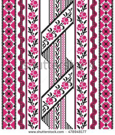 Embroidered good like old handmade cross-stitch ethnic Ukraine ...