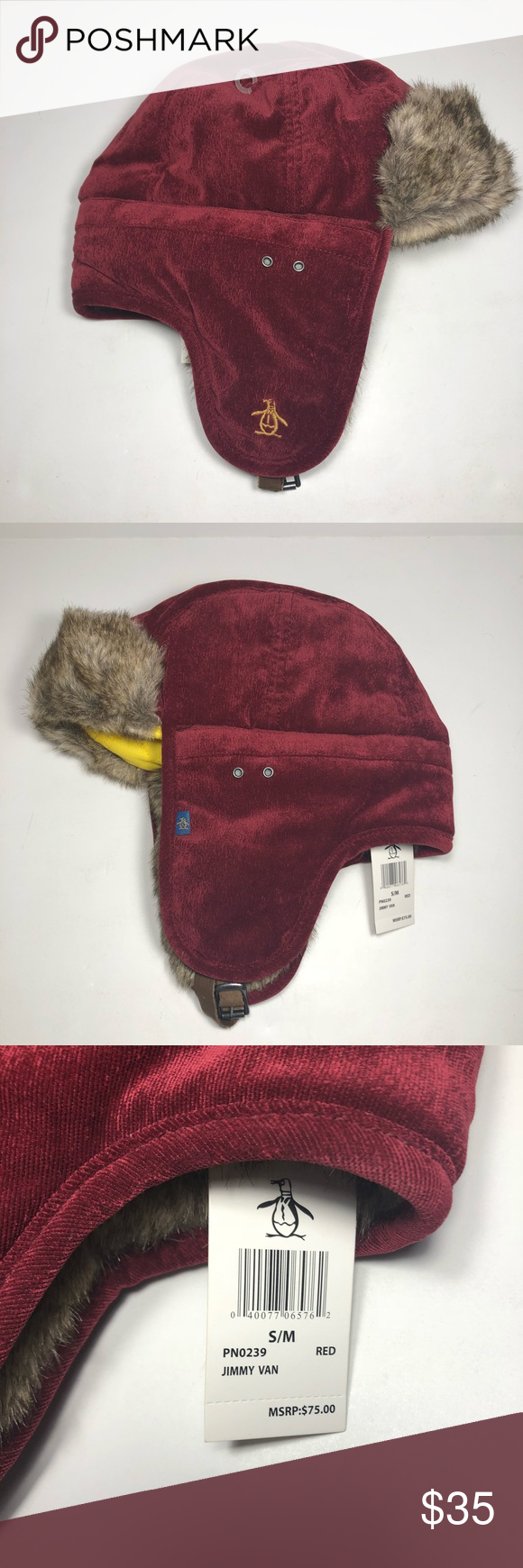 Original Penguin Red Jimmy Van Trapper Hat New With Tags See Picture For  Details. Original Penguin Accessories Hats 632a2763f02