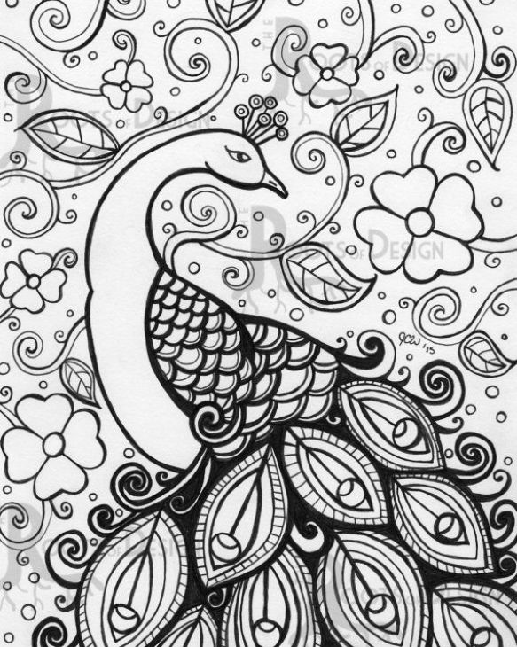 Online printable peacock difficult pattern coloring page for grown ups