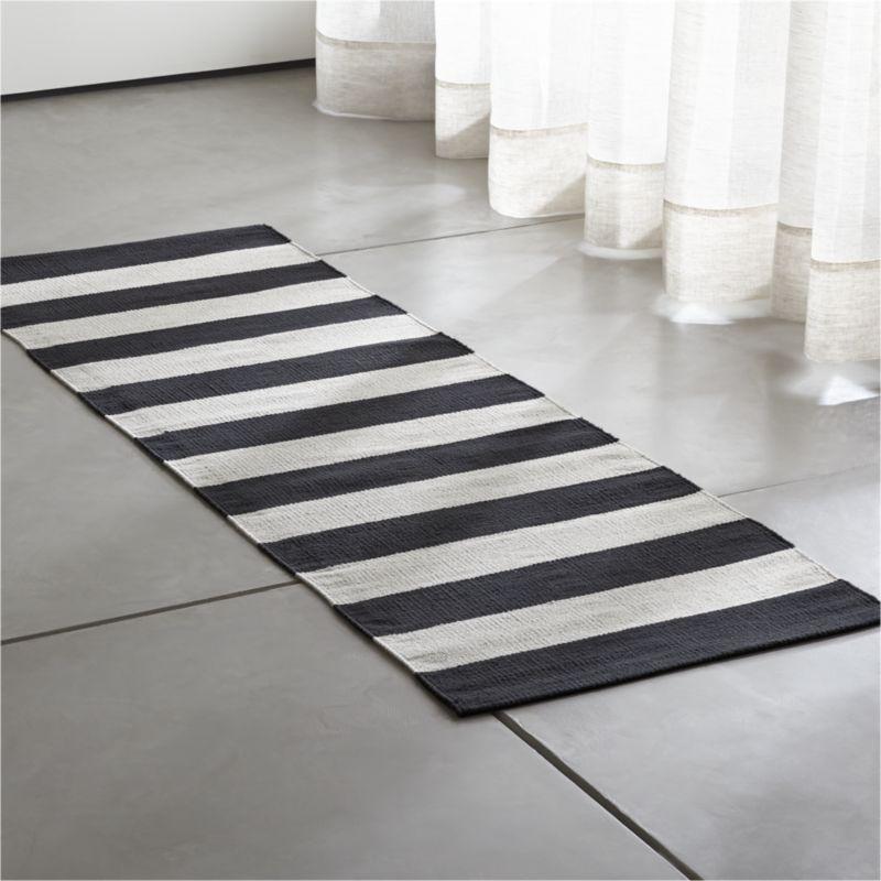 Olin Black Striped Cotton Dhurrie 2 X6 Rug Runner