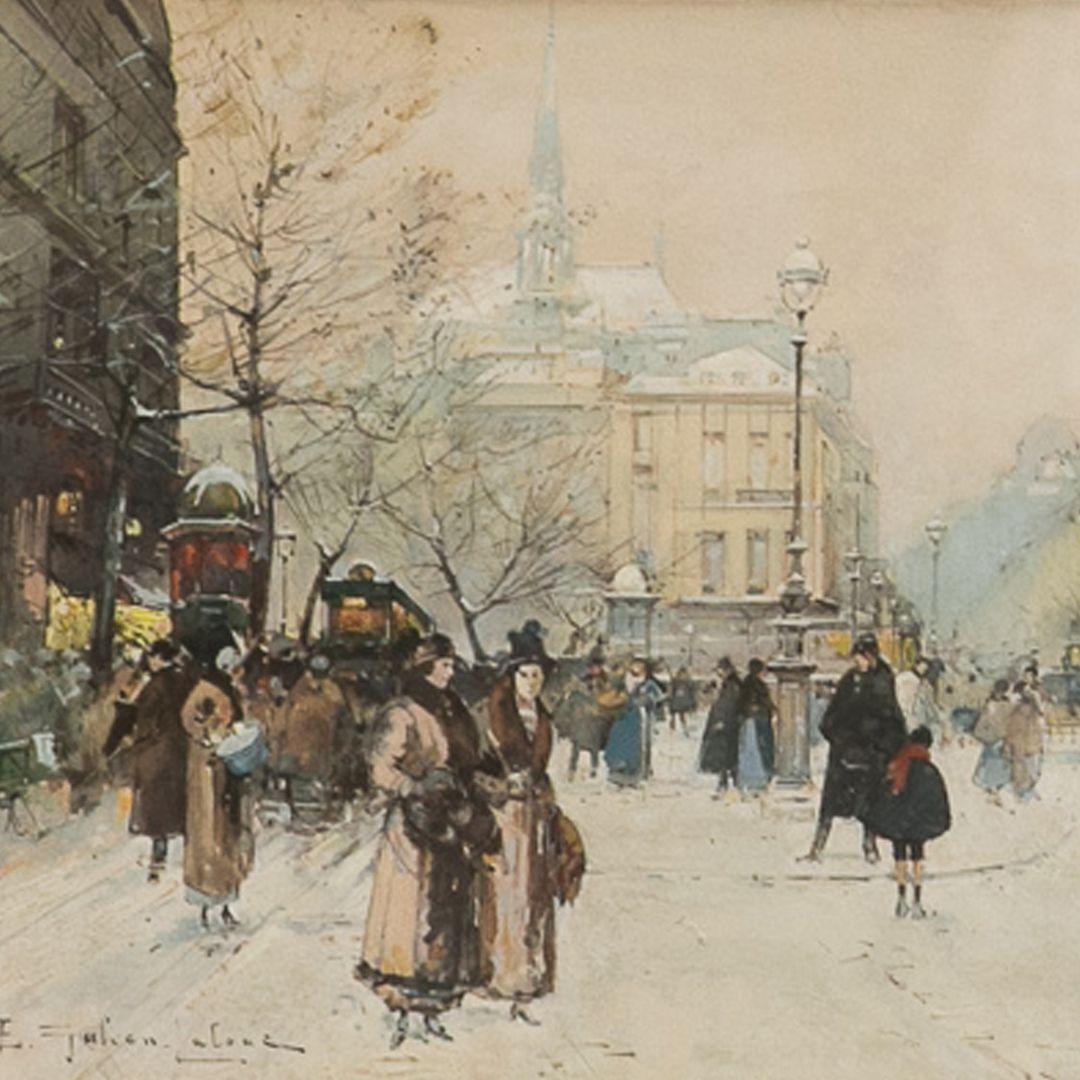 """Paris Winter"" Eugene Galien-Laloue (1851-1941) French ..."
