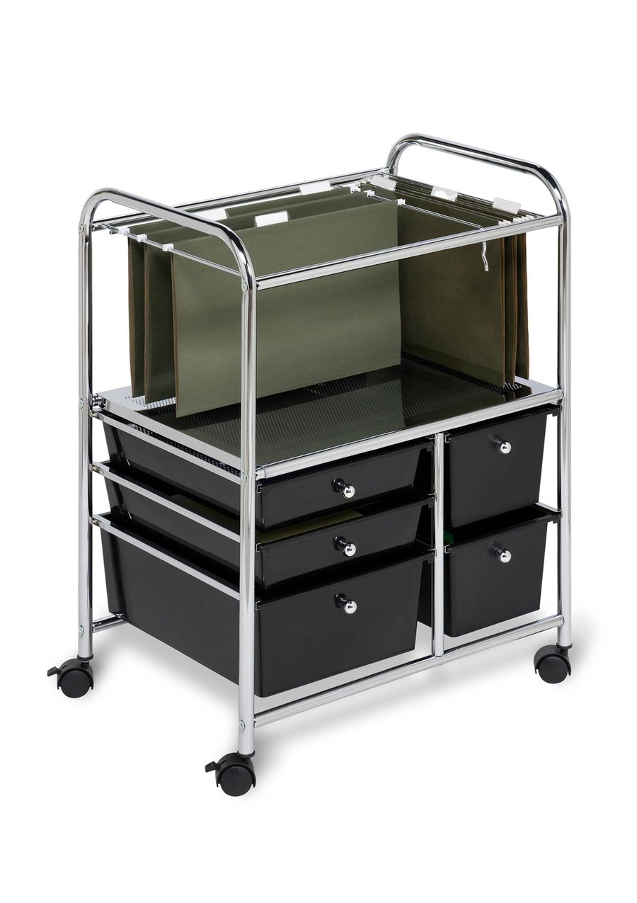 Portable File Cart With Drawers For A