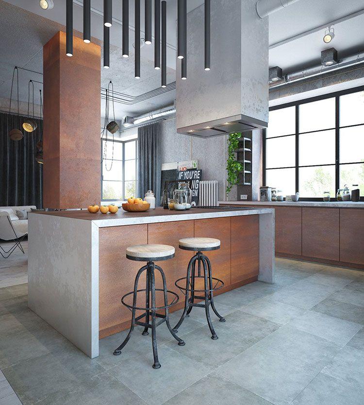 Cucine in stile industriale 25 modelli di design a cui for Appartamento design industriale