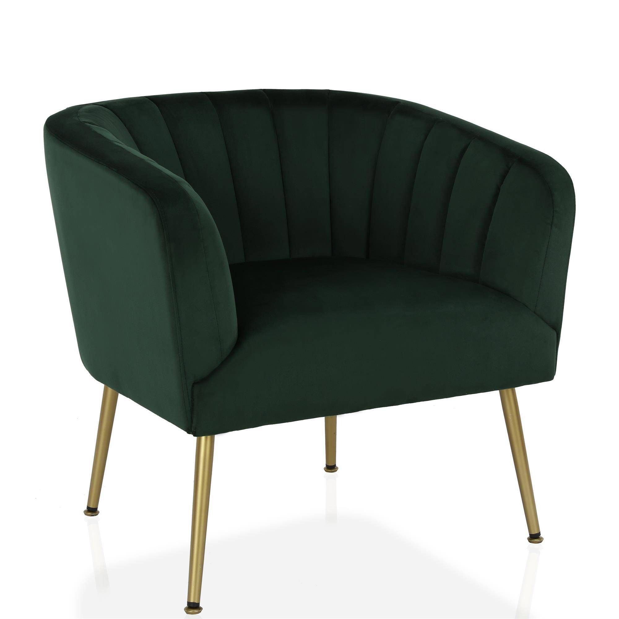 Owsley Channel Back Accent Chair With Gold Legs Green