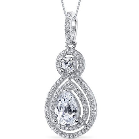 MSRP: $179.99 Our Price: $79.99 Savings: $100.00   Item Number: SP10882  Availability: Usually Ships in 5 Business Days   PRODUCT DESCRIPTION:  This beautiful pendant for her features exceptional design, craftsmanship and finishing.  A brilliant  double halo perfectly frames a pear sh...