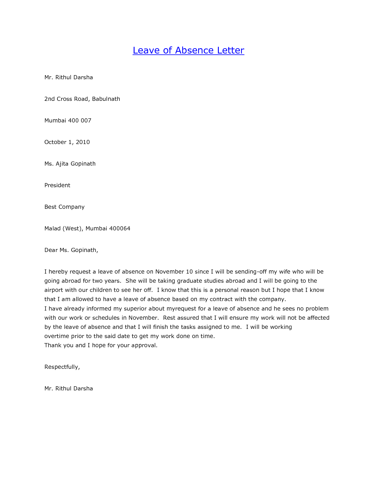 Leave of absence letter from employer mersnoforum leave thecheapjerseys Image collections