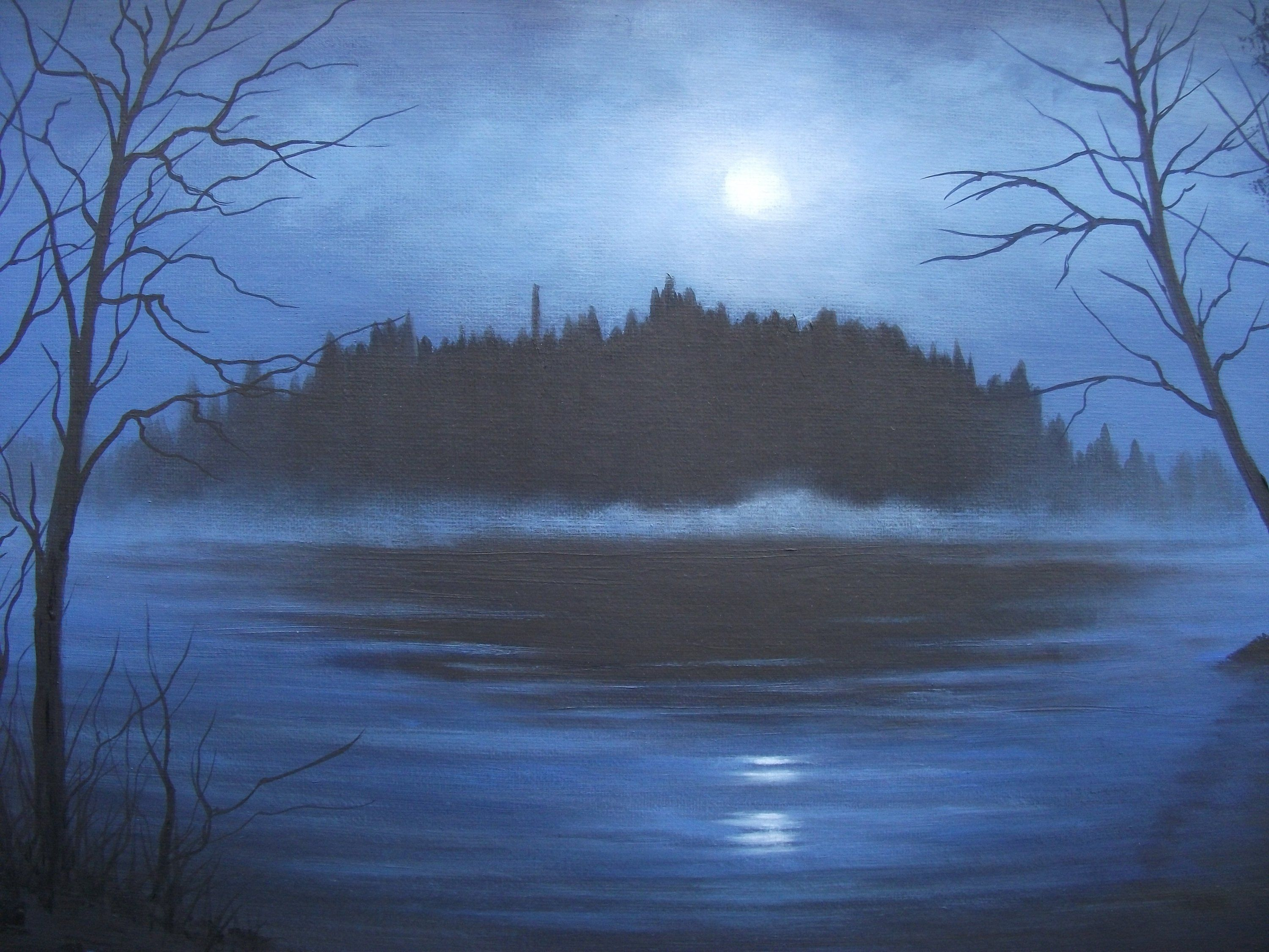 Woods Forest Lake Pond Night Moon Summer Spring Trees Reflection Clouds Original Landscape Oil Painting