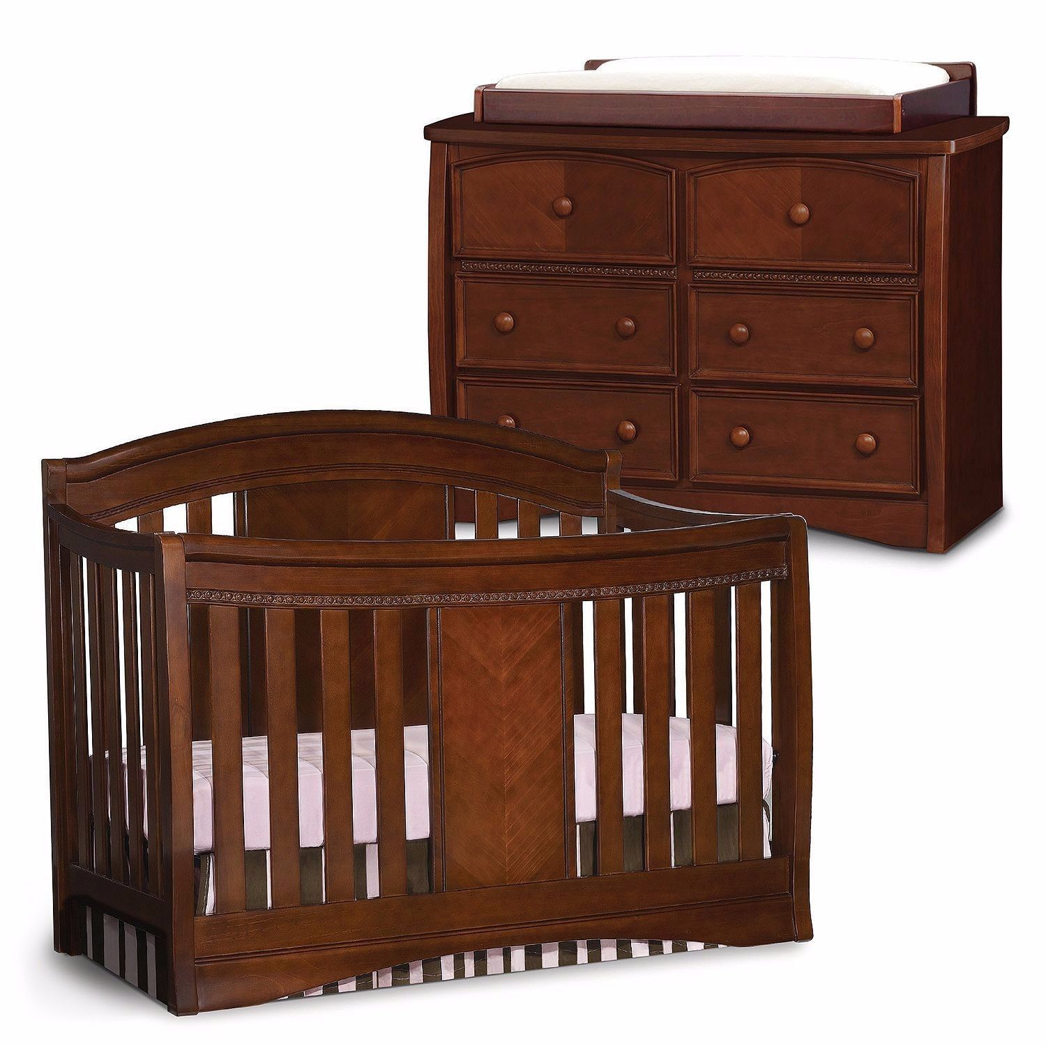 Simmons Kids Elite Nursery Set Espresso 4 in 1 Crib Dresser Changing ...