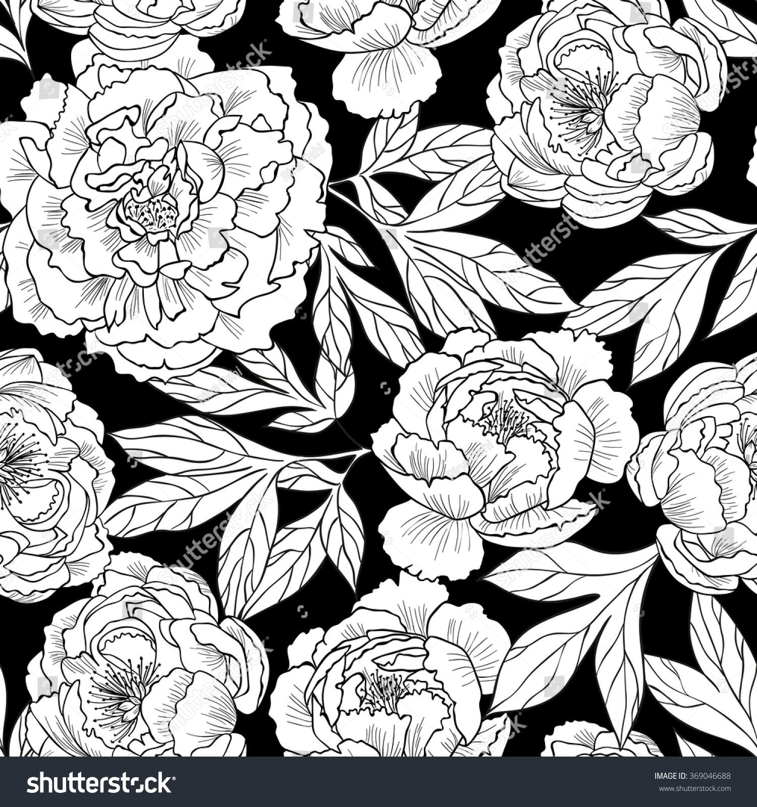 Peony flowers on a black background.Vector seamless