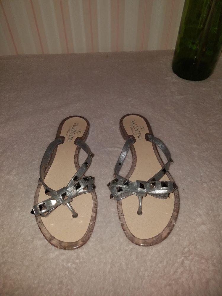 40d5d1cdce1b Valentino Garavani Rockstud Metallic GRAY Jelly Flat Thong Sandal SIZE 37   fashion  clothing  shoes  accessories  womensshoes  sandals (ebay link)