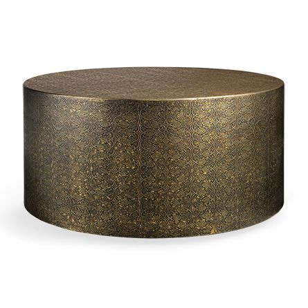 Pinna 36 Drum Coffee Table in Brass Drum coffee table Coffee