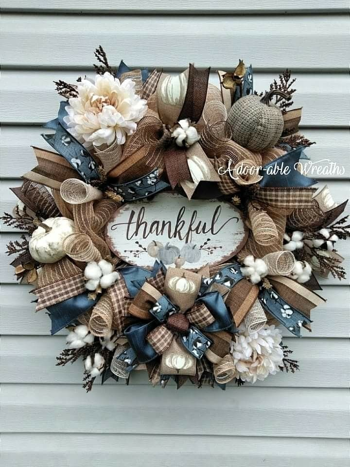 Thankful fall wreath smoke blue, browns and cream. Cotton bolls and ...