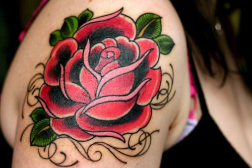 Traditional Red Rose Tattoo With Leaves Inked On The Right Foot Traditional Rose Tattoos Rose Tattoo Foot Small Rose Tattoo
