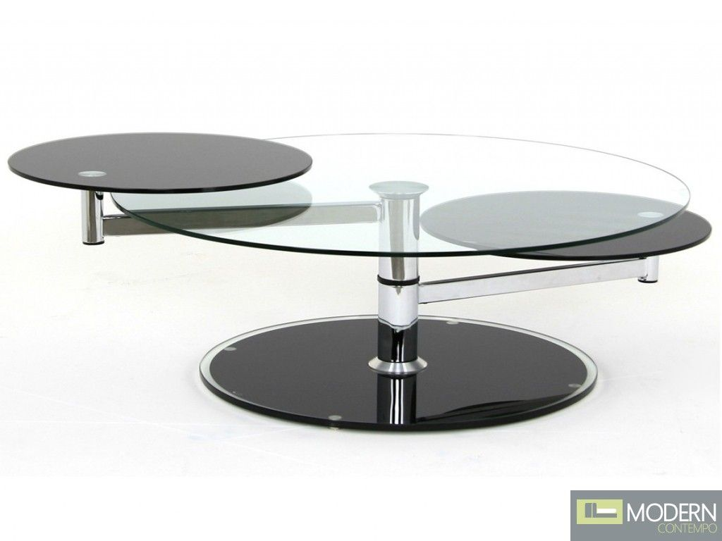 Modern Swivel Glass Coffee Table Round Black Coffee Table Black Coffee Tables Colorful Coffee Table [ 768 x 1024 Pixel ]