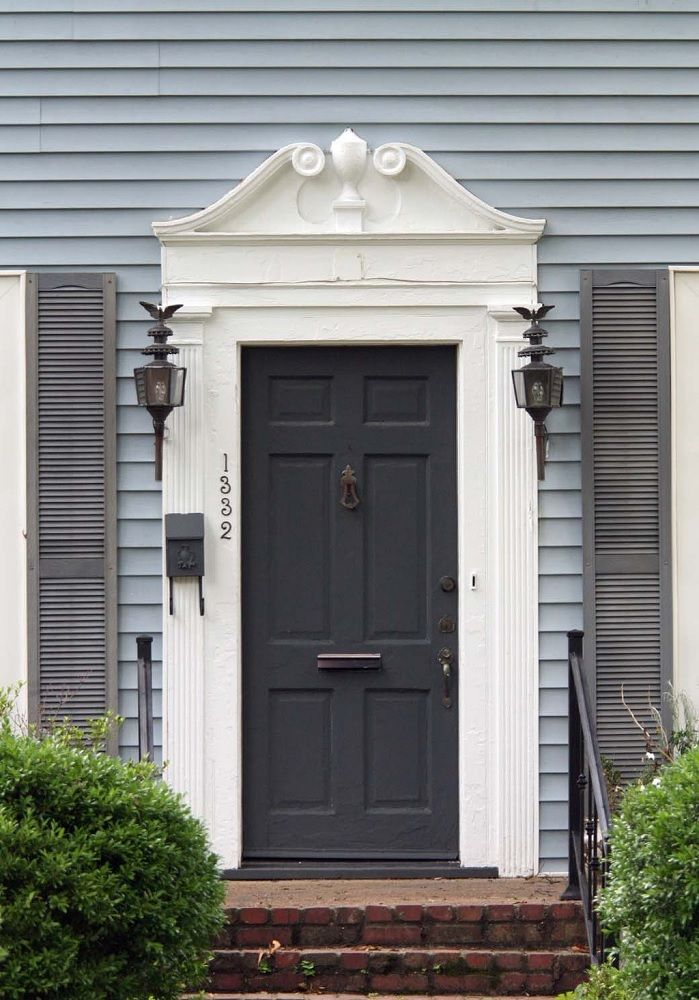 Blue gray battleship gray white with charcoal door - What color door goes with gray house ...