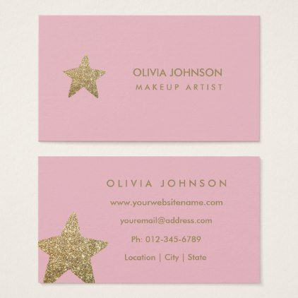 Faux glitter star makeup artist business cards makeup artist faux glitter star makeup artist business cards reheart Gallery
