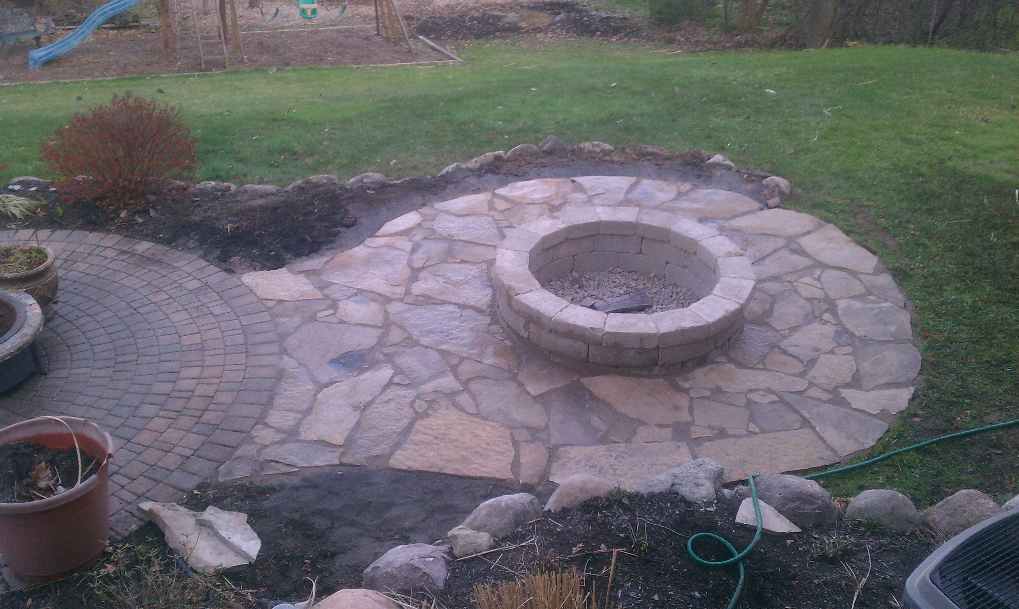 Flagstone Patio With Fire Pit Connected To Brick Paver Patio Patio Pavers Design Flagstone Patio Paver Patio