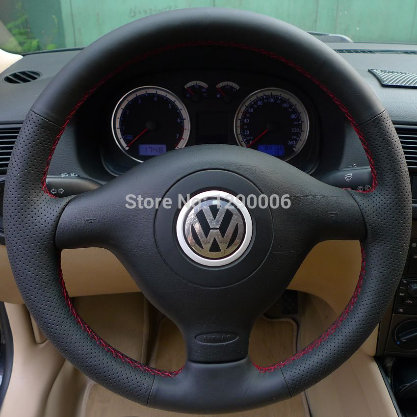 Black Leather Steering Wheel Cover For Vw Mk4 3 Spoke 27 Auto