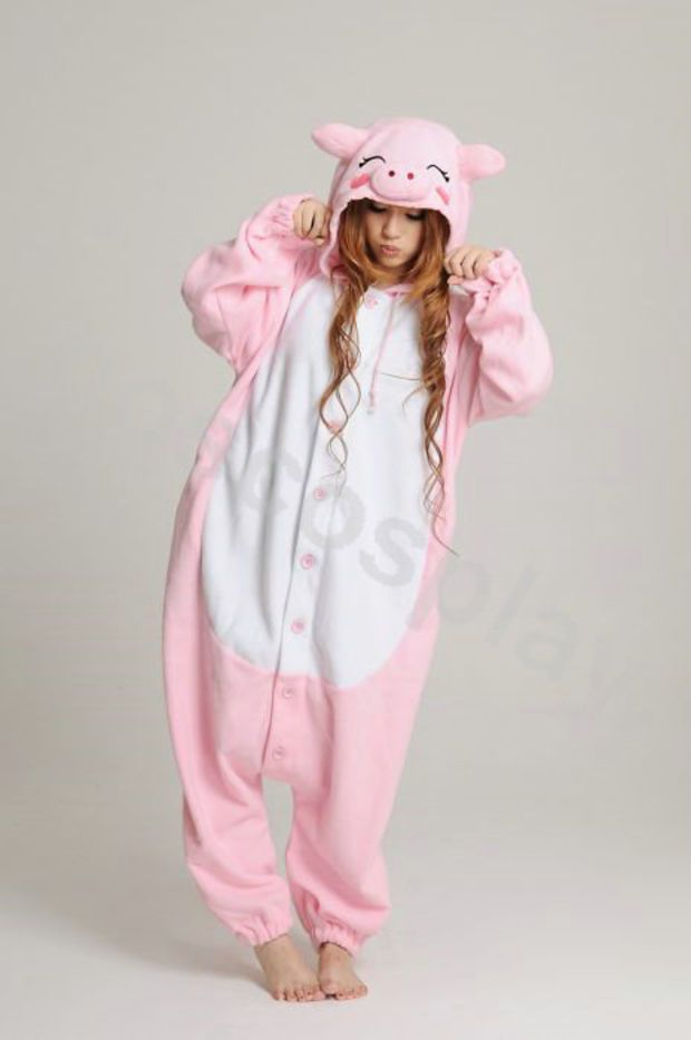 KIGURUMI Animal Pajamas Pyjamas Costume Onesuit Adult   Kid SLOTH-pink pig 6d41b234f