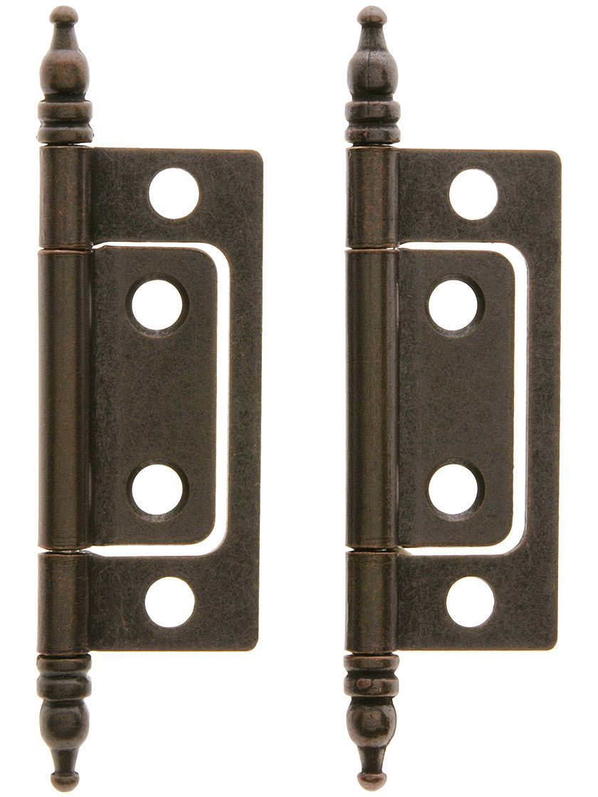 Pair Of 2 Non Mortise Cabinet Hinges In Oil Rubbed Bronze House Antique Hardware