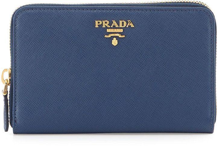 9c50b41df0413e Prada Saffiano Leather French Wallet, Blue (Bluette) | Women wallets ...