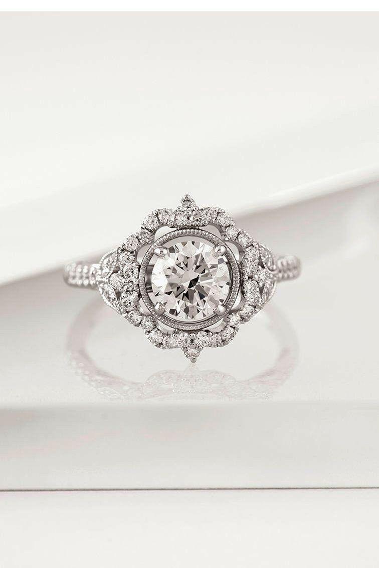Elegant Twisting Diamond Engagement Center Diamond Engagement Rings Vintage Vintage Engagement Rings Round Halo Engagement Rings