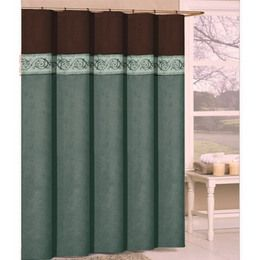 Ordinaire Turquoise And Brown Shower Curtain | Springfield Luxury Chocolate Brown And  Aqua Shower Curtain   Reviews .