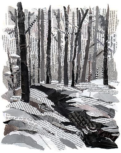 the road less traveled illustration newspaper art newspaper painting creation art white
