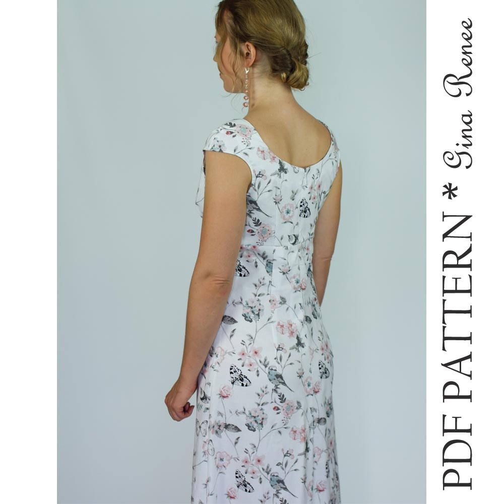 Maxi dress sewing pdf pattern womens maxi dress pattern