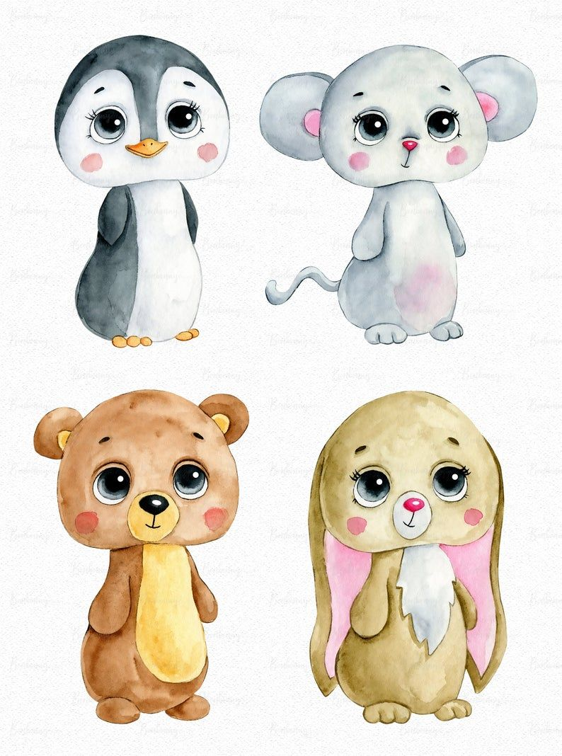 Watercolor Cute Winter Christmas Party Animals Clipart Png Digital Download Sublimation Graphics Children Printables Planner Stickers Animal Clipart Baby Painting Clip Art