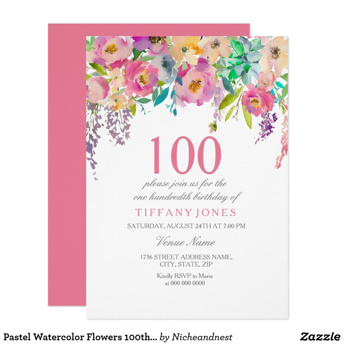 Pastel Watercolor Flowers 100th Birthday Party Card Invitations