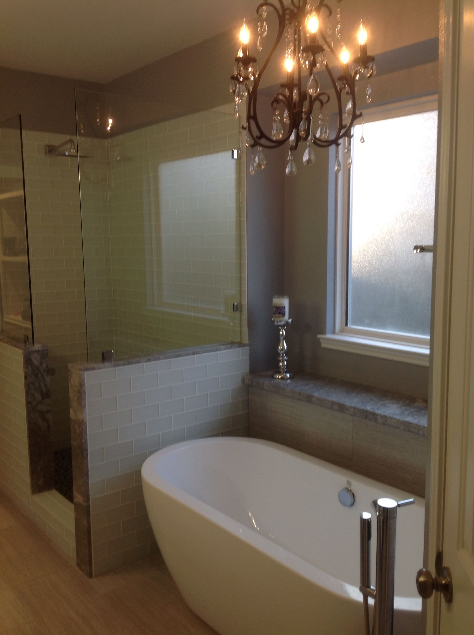 bathroom designs with freestanding tubs. Interesting Tubs Bathroom Remodel With Freestanding Tub Frosted Glass Shower Tile Spa Rock  Floor Rain Head Grey Sand White Color Palate In Designs With Freestanding Tubs