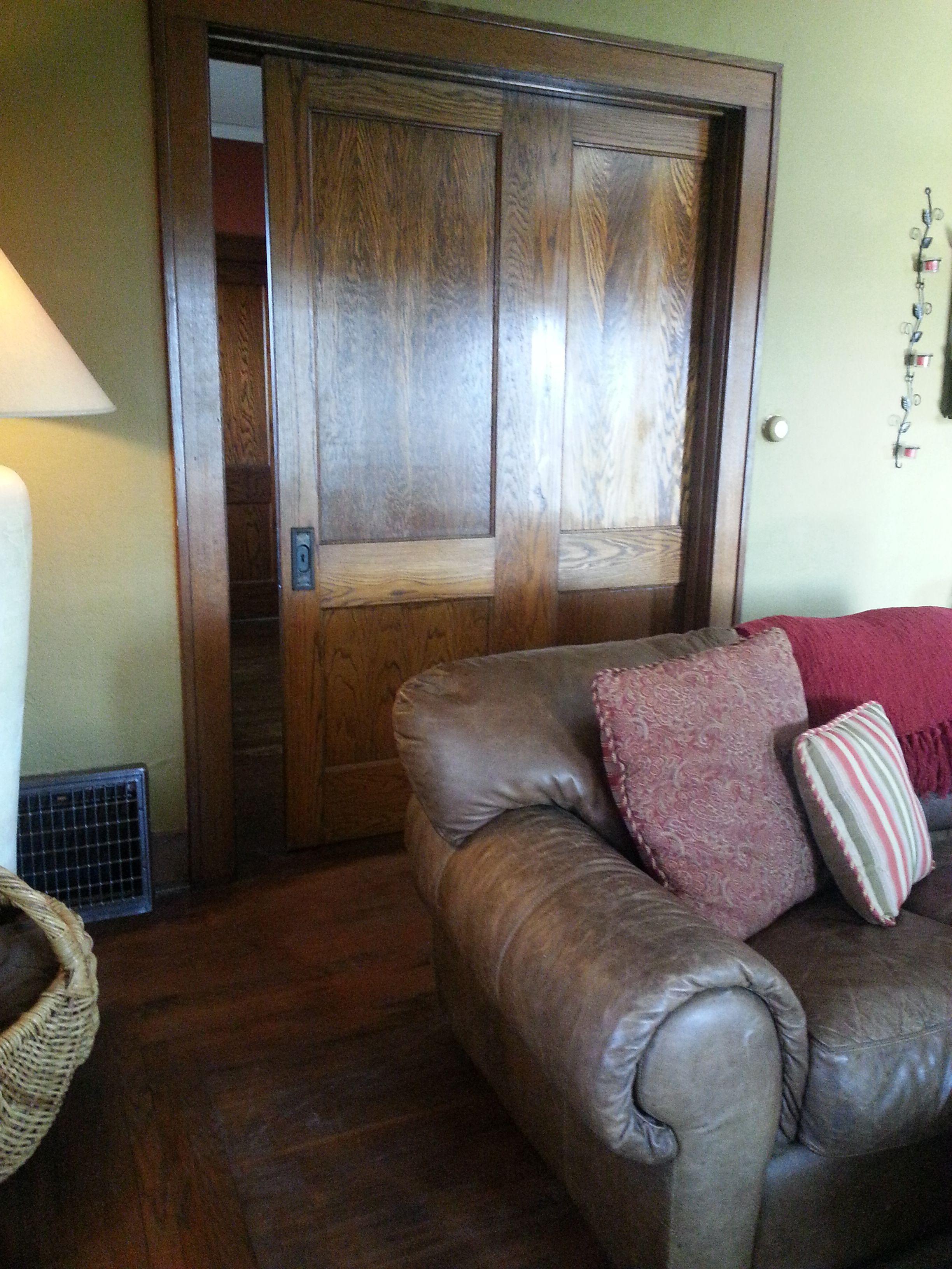 Tiger Oak Double Pocket Door Original To This Sears Craftsman Home 1916 1925 Era Www Realtyfive Com Home Craftsman House Pocket Doors