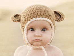 eb2b7313df4 A cute variation on the crochet baby hat with ear flaps!