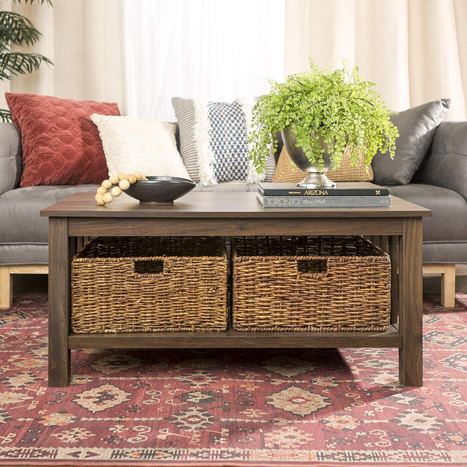 We Furniture Rustic Wood Rectangle Coffee Accent Table Storage