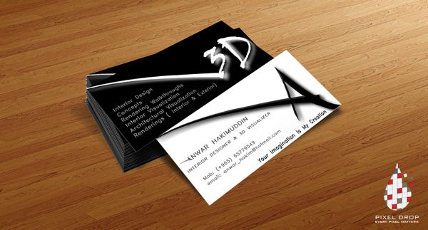 Business Card For A 3d Visualizer By Huzefa Mithaiwala Via Behance White Business Card Design Cards Business Cards