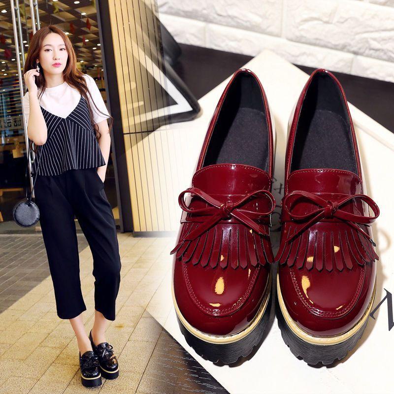 Womens Platform Creepers Wdege Heel Bowknot Tassel Round Toe Fashion Lolita Shoe