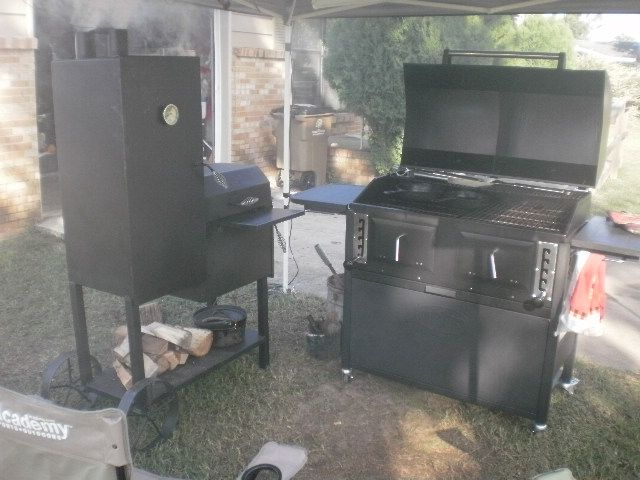 What I M Cookinmg With Right Now Kingsford Dual Zone Charcoal Grill And Old Hickory Vertical Smoker Grilling Bbq Equipment Bbq Smokers