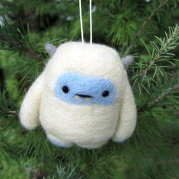 Yeti, Needle Felted Yeti Ornament, Abominable Snowman, Christmas