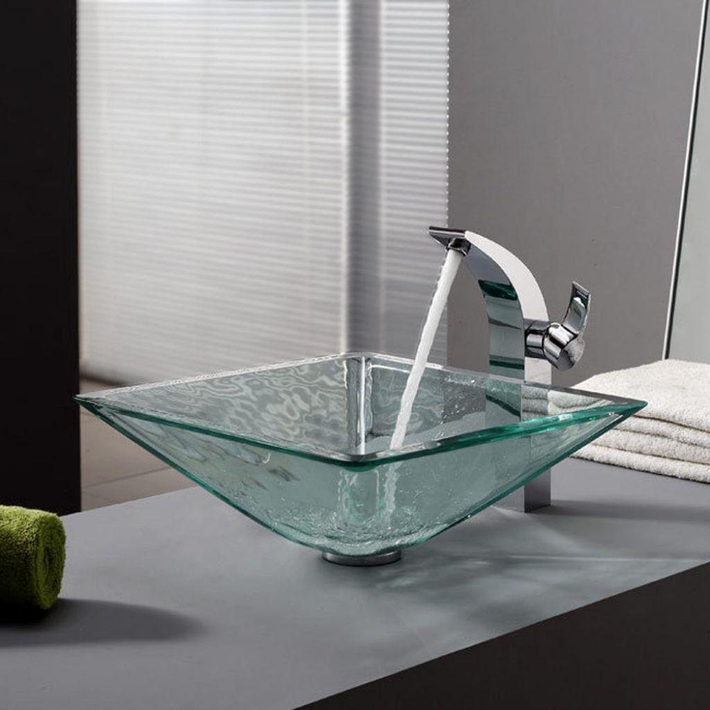 Stylish Bathroom Glass Vessel Sink Powder Room Pinterest